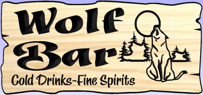 "Sign with the ""Wolf Bar"" edge"